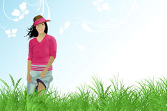 Girl walk in the field Stock Photography