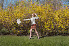 Girl walk on on grass Royalty Free Stock Photo
