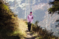 Girl walk over the mountains, Czech mountains Krkonose Royalty Free Stock Images