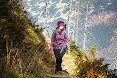 Girl walk over the mountains, Czech mountains Krkonose Stock Photos