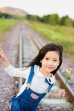 Girl walk on the railway Royalty Free Stock Images