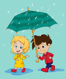 Girl walk and talk with a boy in a rainy day. Royalty Free Stock Photos
