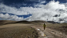 A girl walking along the lonely road Stock Photography