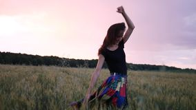 Beautiful girl in dress walking in through field touching wheat ears at sunset. stock footage