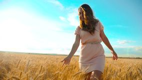 Girl is walking along the wheat field nature slow motion video. Beautiful girl in white dress running nature freedom. Lifestyle happiness hands to side on field stock video