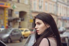 Girl is walking around the city Stock Photo