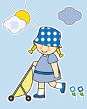 Girl walking the baby carriage. Stickers girl room Royalty Free Stock Image