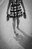 Girl Walking Barefoot Stock Photography