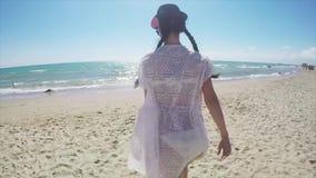 Girl Walking Barefoot Beach stock video footage