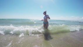 Girl Walking Barefoot Beach stock video