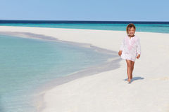 Girl Walking On Beautiful Tropical Beach Royalty Free Stock Photography
