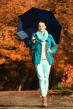 Girl walking with blue umbrella in autumnal park Royalty Free Stock Image