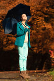 Girl walking with blue umbrella in autumnal park Stock Image