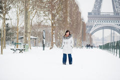 Girl walking by Champ de Mars at winter day Stock Photography