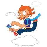 Girl walking on clouds stock images