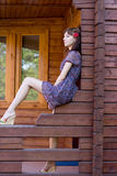 Girl walking in country side Royalty Free Stock Photography