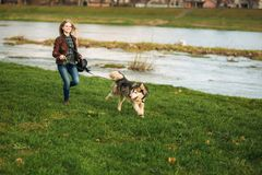 A girl is walking with a dog along the embankment. Beautiful Husky dog. The river. Spring.  royalty free stock images