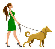 Girl is walking with a dog. On a white background Royalty Free Stock Photo
