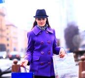 Girl walking down the street. Stock Photo