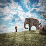 Girl Walking Elephant and Animals in Nature. A young girl is walking a big elephant on a wild landscape with other animals following on a path to protection or Stock Photo