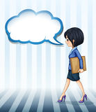 A girl walking with an empty callout Royalty Free Stock Image