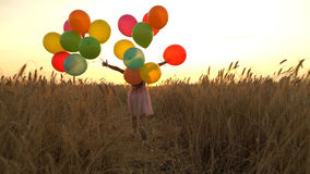 Girl walking in a field with balloons Stock Photos