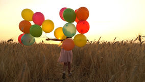 Girl walking in a field with balloons Royalty Free Stock Images