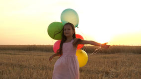 Girl walking in a field with balloons Stock Image
