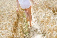 Girl walking on the field Stock Photography