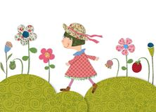 Girl walking on Flowering meadow Stock Images