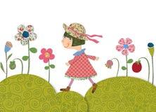 Girl walking on Flowering meadow