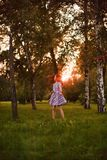 Girl walking in forest royalty free stock photos