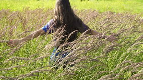 Girl walking on green grass field and touching the plants. Slow motion stock video