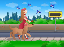 girl and walking her brown dog Royalty Free Stock Images