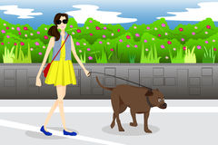 Girl Walking With Her Dog in the Park Royalty Free Stock Photography