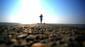 Girl walking on Jetty. HD. 1920x1080 stock footage