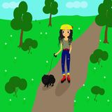 girl walking with a little black dog - vector illustration, eps stock illustration