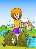 Girl walking with little dog. Illustration of girl walking cross the bridge, with her little dog Stock Photos
