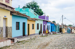 Girl walking in the old town of Trinidad, Cuba Stock Image