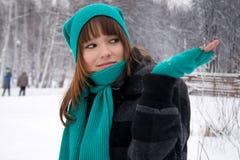 Girl walking outdoor Stock Images