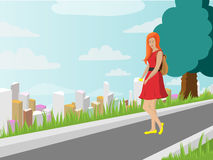 Girl is walking outdoors in a red dress and with a backpack. Vector illustration Royalty Free Stock Photography
