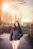 Girl walking outdoors Stock Photography