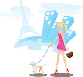 Girl walking in Paris with poodle dog. Illustration of A girl walking in Paris with one poodle dog.Lifestyle concept.Contain gradient and clipping mask stock illustration
