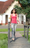 Girl walking in park Royalty Free Stock Images