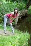Girl walking in park Stock Photography