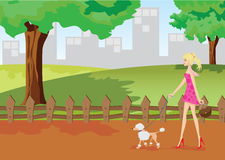 Girl is walking in park with poodle dog Royalty Free Stock Images