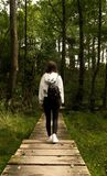 Girl walking on a pathway in the forest / Girl walking in the forest photographed from behind / girl with beautiful backpack in th stock photo