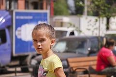 Girl walking on the Playground. Little girl walking on the Playground Royalty Free Stock Photos