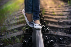 Girl Walking On The Railroad Royalty Free Stock Photos
