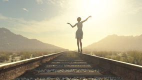 A girl walking on railroad. Wearing heels. This is a 3d render illustration Stock Image